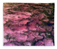Sea Foam Pinkish Black Fleece Blanket