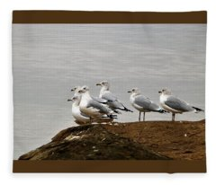 Sea Gulls On Rock Ledge Fleece Blanket