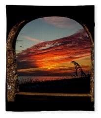 Sea Oats And Sunset Fleece Blanket