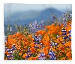 Sea Of California Wildflowers Fleece Blanket