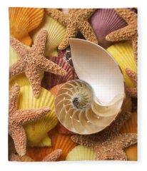 Sea Shells And Starfish Fleece Blanket