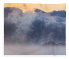 Sea Smoke At Owls Head Panorama Fleece Blanket