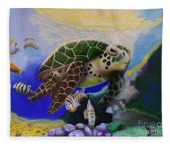 Sea Turtle Acrylic Painting Fleece Blanket