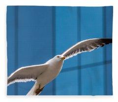 Seabird Flying On The Glass Building Background Fleece Blanket