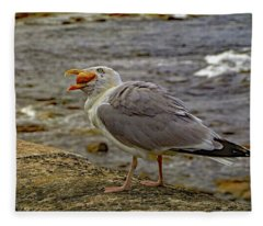 Seagull Feeding Fleece Blanket