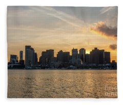 Seagull Flying At Sunset With The Skyline Of Boston On The Backg Fleece Blanket