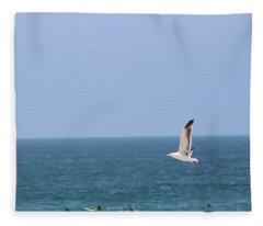 Seagull Flying Over Huntington Beach Fleece Blanket