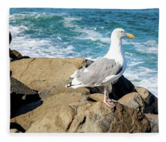 Seagull On Jetty Fleece Blanket