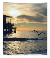 Seagull Pier Sunrise Seascape C2 Fleece Blanket