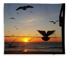 Seagulls At Sunrise Fleece Blanket