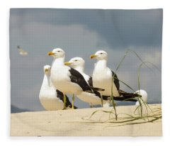 Seagulls At The Beach Fleece Blanket