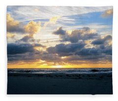 Seagulls On The Beach At Sunrise Fleece Blanket