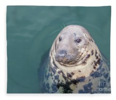 Seal With Long Whiskers With Head Sticking Out Of Water Fleece Blanket