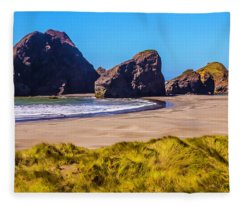 Seascape Oregon Coast Fleece Blanket