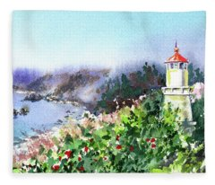 Seascape With Lighthouse Fleece Blanket