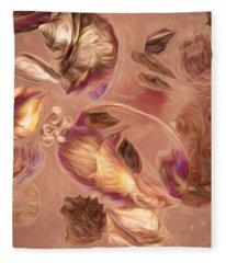 Seashell Medley In Pale Orange Fleece Blanket