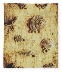 Seashell Shaped Pendants On Wooden Background Fleece Blanket