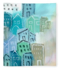Seaside City- Art By Linda Woods Fleece Blanket
