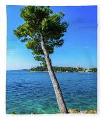 Seaside Leaning Tree In Rovinj, Croatia Fleece Blanket