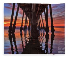 Seaside Reflections Under The Imperial Beach Pier Fleece Blanket