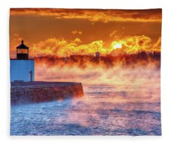 Seasmoke At Salem Lighthouse Fleece Blanket