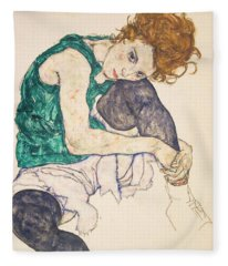 Seated Woman With Legs Drawn Up Fleece Blanket