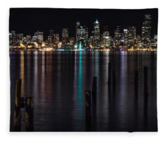 Seattle At Night Fleece Blanket