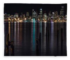 Seattle At Night Fleece Blanket