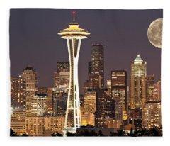 Seattle Full Moon Fleece Blanket