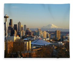 Seattle Cityscape Fleece Blanket