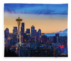 Seattle Dawn Panorama Fleece Blanket