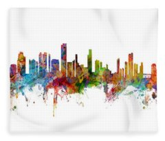 Seattle, Honolulu And Miami Skylines Mashup Fleece Blanket