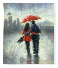 Seattle Lovers In The Rain Fleece Blanket