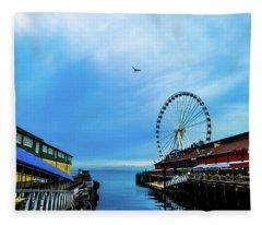 Seattle Pier 57 Fleece Blanket