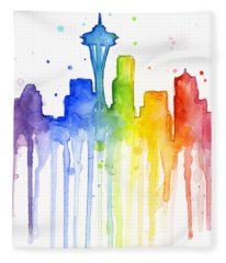 Seattle Rainbow Watercolor Fleece Blanket