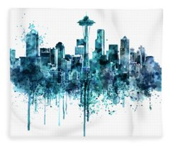Seattle Skyline Monochrome Watercolor Fleece Blanket