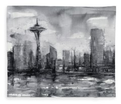 Seattle Skyline Painting Watercolor  Fleece Blanket