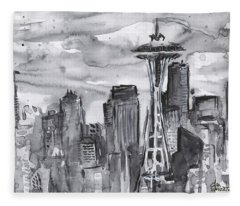 Seattle Skyline Space Needle Fleece Blanket