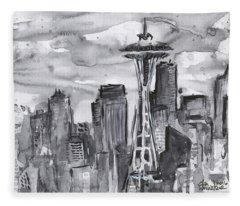 Seattle Skyline Space Needle Fleece Blanket