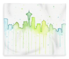 Space Needle Fleece Blankets