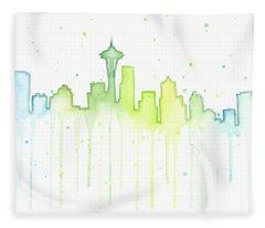 Seattle Skyline Watercolor  Fleece Blanket