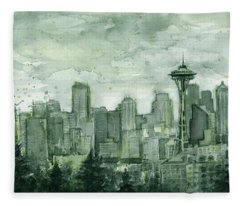 Seattle Skyline Watercolor Space Needle Fleece Blanket
