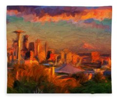 Seattle Sunset 1 Fleece Blanket
