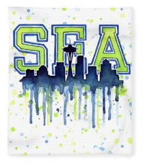 Seattle Watercolor 12th Man Art Painting Space Needle Go Seahawks Fleece Blanket