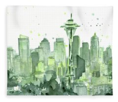 Seattle Watercolor Fleece Blanket