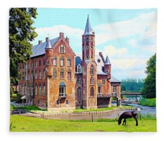 Secluded Wissekerke Castle - Bazel, Belgium Fleece Blanket