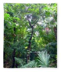 Secret Bridge In The Tropical Garden Fleece Blanket