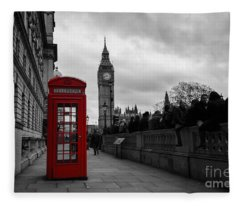 Selective Color Red Telephone Box In London Fleece Blanket