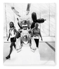 Self Portrait In Jeff Koons Mylar Rabbit Balloon Sculpture Fleece Blanket