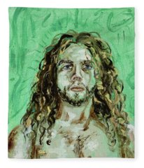 Self Portrait -with Emerald Green And Mummy Brown- Fleece Blanket